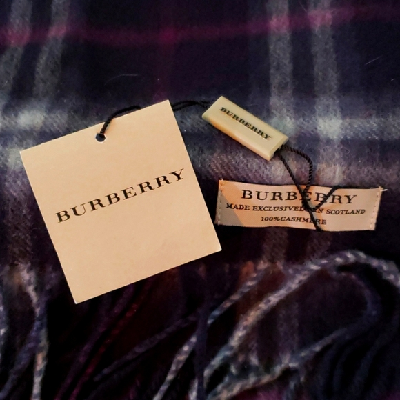 Burberry purple blue Prussian Check scarf.